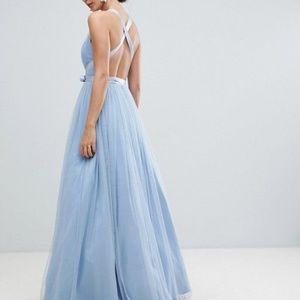 new asos tulle ribbon maxi dress us 14 baby blue